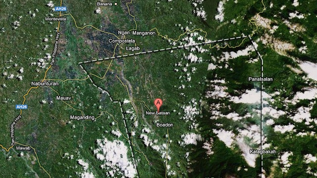 TRAGEDY IN CENTRAL MINDANAO. Google Maps image of New Bataan town in Compostela Valley province