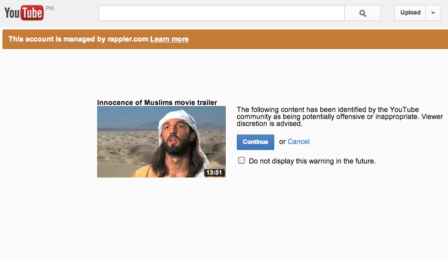 INNOCENCE OF MUSLIMS. The crudely made film depicted the Prophet Mohammed as a buffoon and paedophile, and sparked a wave of angry anti-American protests across the Middle East in which more than 30 people were killed. Screen grab from Youtube