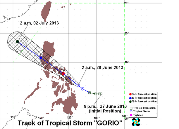 FORECAST. Track of Tropical Storm Gorio as of 2:00am, June 29, 2013. Image courtesy of PAGASA