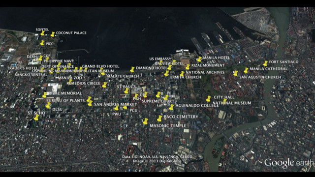 ENDANGERED ESTABLISHMENTS. The yellow markers indicate the businesses and sites that may be affected by the reclamation. Image from Lory Tan
