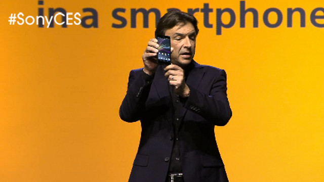 XPERIA Z. Sony's Phil Molyneux shows off their new flagship phone. Screen shot from Sony livestream