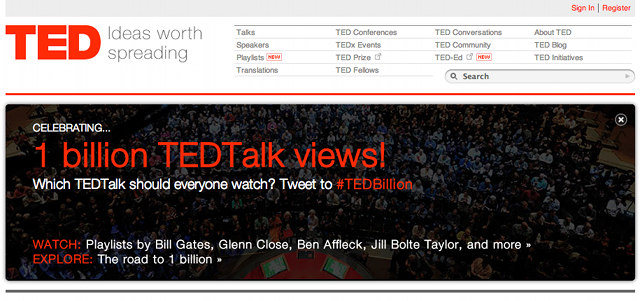 Screen shot from the TED website