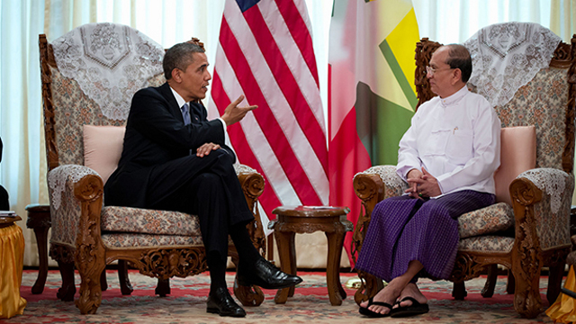 THEIN SEIN TALKS. Obama meets with Myanmar's President Thein Sein. Photo by Pete Souza from whitehouse.gov