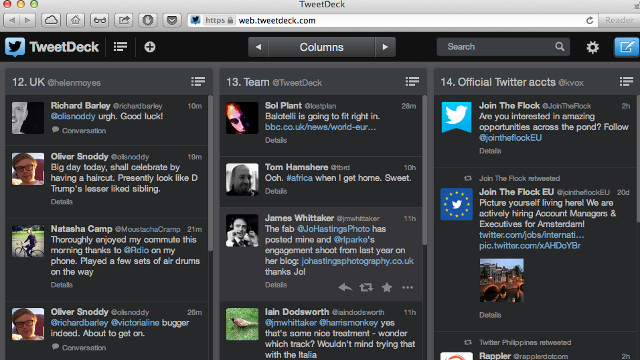 CONSOLIDATION. TweetDeck places focus on Web and Chome apps, discontinuing its AIR, Android, and iPhone apps. Screenshot from TweetDeck.