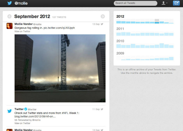 ARCHIVE AT WORK. Twitter's archiving service has its own navigation system. Screen shot from Twitter blog.
