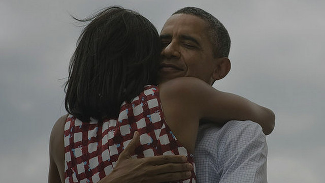 "THE OBAMA HUG. Twitter's most retweeted and favorited tweet only has three words: ""Four more years."" Photo from Barack Obama's Twitter page."