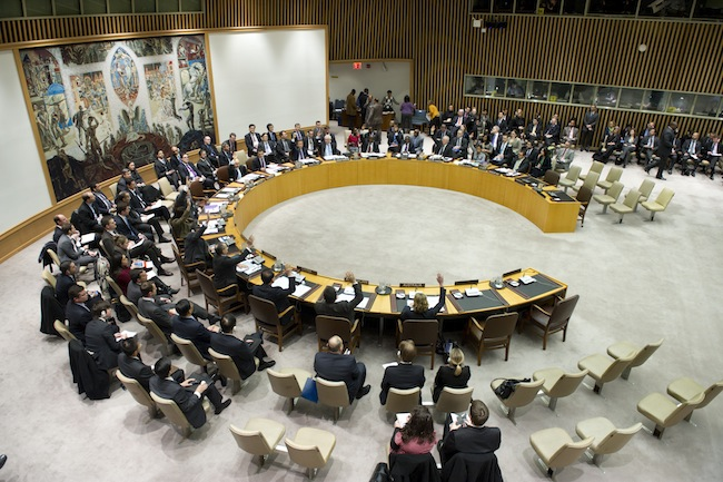 A wide view of the Security Council vote as the Council unanimously adopts resolution 2087 (2013), condemning the 12 December 2012 launch by the Democratic People's Republic of Korea (DPRK), using ballistic missile technology, 22 January 2013, United Nations, New York. UN Photo/Eskinder Debebe