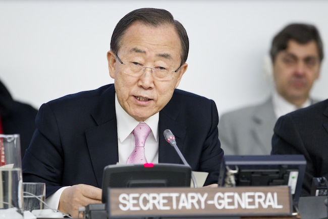 WARNING. United Nations Secretary-General Ban Ki-moon at the UN. File photo by the UN 