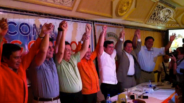 "UNITED ALLIANCE? Resigned Sen Juan Miguel Zubiri joins the party of former President Joseph Estrada despite the objection of the leader of its coalition partner, Sen Aquilino ""Koko"" Pimentel III of PDP-Laban."