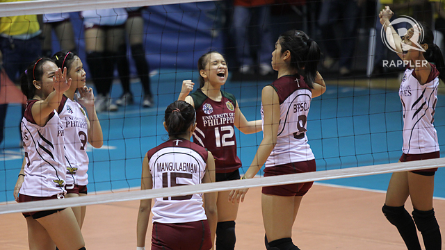 The Lady Maroons celebrate a hard-earned win. Photo by Josh Albelda
