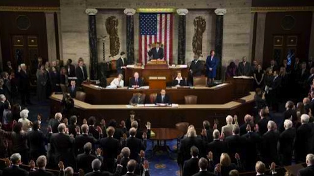 The 113th US House of Representatives during opening session at the US Capitol in Washington, DC. AFP PHOTO / Saul LOEB