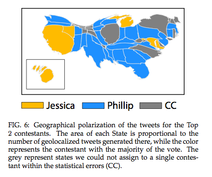 US WENT FOR PHILLIPS. The map shows states where tweets favoring Phillips dominated
