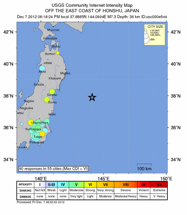 JAPAN QUAKE. Magnitude 7.3 earthquake hits off the east coast of Honshu. Screen shot from http://earthquake.usgs.gov/earthquakes/eventpage/usc000e5n4#dyfi