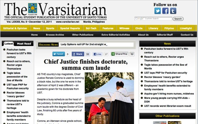 The Varsitarian report on Corona's UST PhD graduation