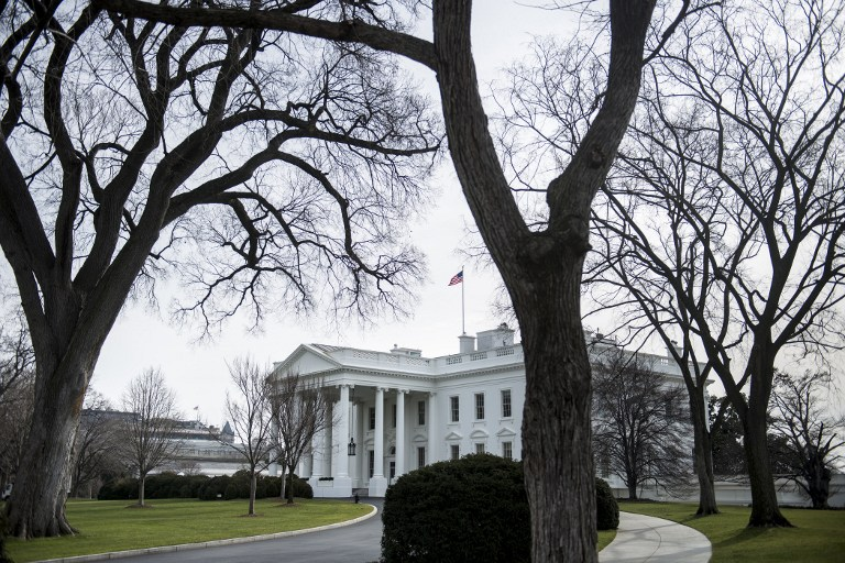 A view of the White House in Washington, DC. AFP PHOTO/Brendan SMIALOWSKI