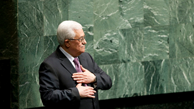 'PALESTINIAN PRESIDENT.' Palestinian Leader Mahmoud Abbas is introduced as the &quot;president of Palestine&quot; after a UN vote to make Palestine a non-member state. Photo from www.un.org 