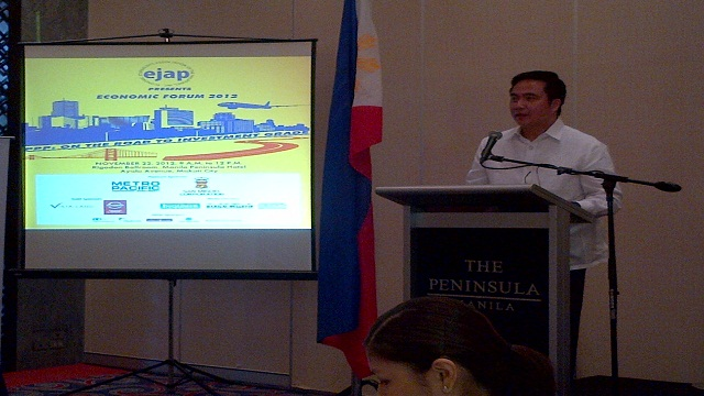 FASTTRACKING PPPs. DOTC Secretary Joseph Emilio Abaya speaks at the EJAP Economic Forum 2012.