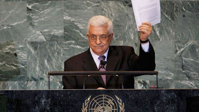 'NOW WE HAVE A STATE.' Palestinian President Mahmoud Abbas speaks at the UN General Assembly on September 20, 2012. Photo from his Facebook page
