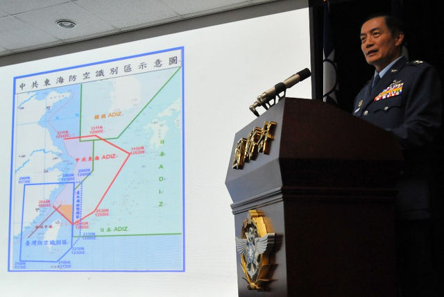 SOUTH CHINA SEA ADIZ? A map of Air Defense Identification Zone (ADIZ) in the East China Sea at a press conference in Taipei on December 2, 2013. Photo by Mandy Cheng/AFP
