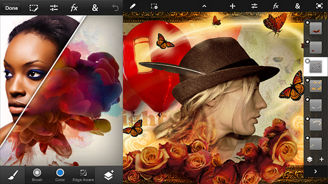 PHOTOSHOP TOUCH. Adobe releases Photoshop Touch for smartphones. Screen shots from Adobe.