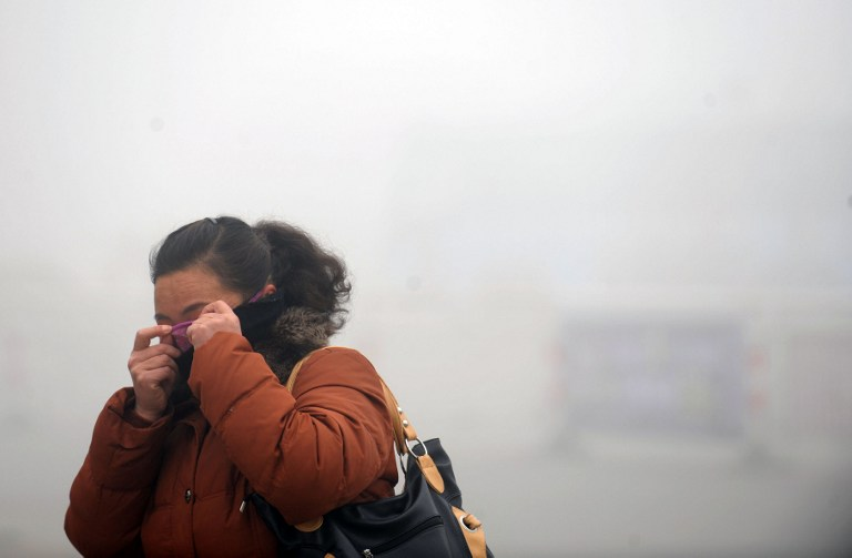 A woman covers her face with her sweater in the heavy smog in Haozhou, central China's Anhui province on January 30, 2013. AFP PHOTO