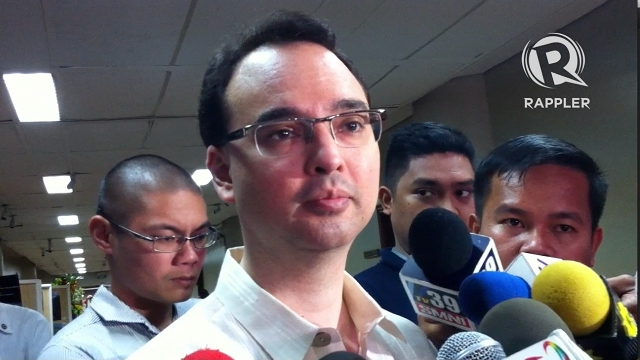 SHAKING HANDS? Senate Minority Leader Alan Peter Cayetano he wanted to shake Enrile's hand after their word war but decided to just let things cool down. Photo by Ayee Macaraig