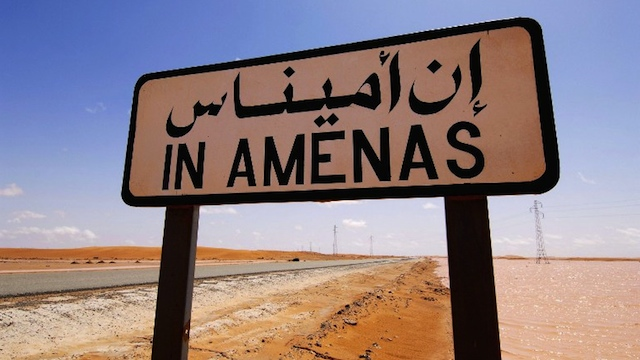 HOSTAGE CRISIS This undated hand out picture released by Norway's energy group Statoil on January 17, 2013 shows a road sign near the In Amenas gas field in eastern Algeria near the Libyan border. AFP PHOTO / STATOIL / KJETIL ALSVIK