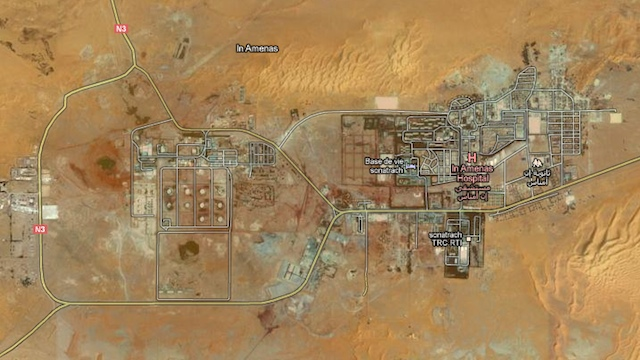 MIDDLE OF THE DESERT. Satellite image of the In Amenas gas field in eastern Algeria from Google Maps