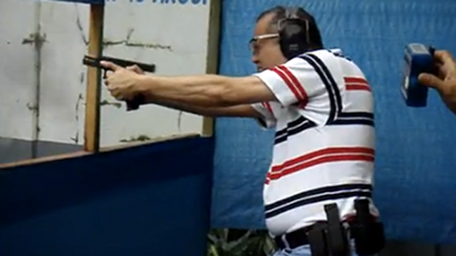 PRIVATE EXEMPTION. President Benigno Aquino III, a gun enthusiast, wants the Comelec to exempt him from the gun ban. Image circa 2008; screen grab from youtube.com/vbsslsd
