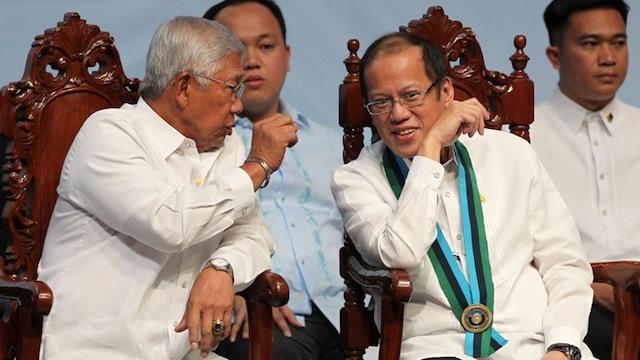 FATHER FIGURE: President Benigno Aquino III and Defense Secretary Voltaire Gazmin. Malacañang photo