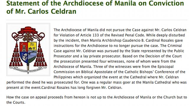OFFICIAL STATEMENT. The Archdiocesan Office of Communications released the above statement on January 30, 2013. Screenshot from cbcforlife.com.