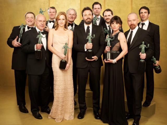 OUTSTANDING CAST IN A MOTION PICTURE. The male and female cast of 'Argo' carry their individual SAG awards after winning Outstanding Cast in a Motion Picture. Photo from the Screen Actors Guild Awards Facebook page