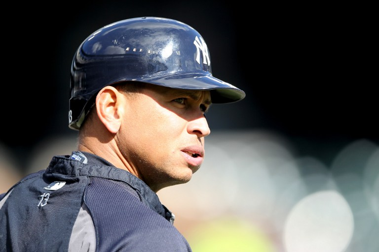 Alex Rodriguez #13 of the New York Yankees looks on during batting practice against the Detroit Tigers during game four of the American League Championship Series at Comerica Park on October 18, 2012 in Detroit, Michigan. Leon Halip/Getty Images/AFP