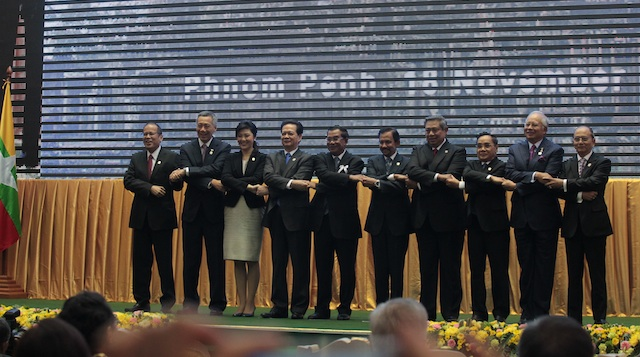 UNITY. Southeast Asian leaders hold hands before opening the ASEAN Summit in Cambodia on Sunday, November 18. Photo by Gil Nartea / Malacañang Photo Bureau