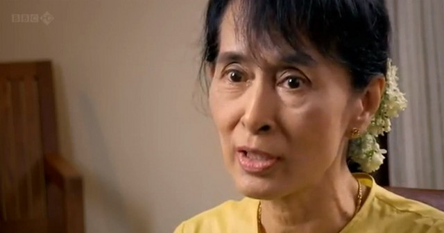 HOPE OF A PEOPLE. Aung San Suu Kyi in a still from 'Aung San Suu Kyi: The Choice.' Screen grab from YouTube (lianlilianli02)