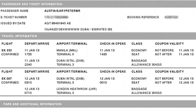 HAPPY ENDING. A screenshot of the Gary Austin's ticket home. Image courtesy of Cecile van Straten.