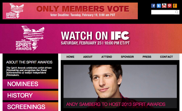 Screenshot from www.spiritawards.com