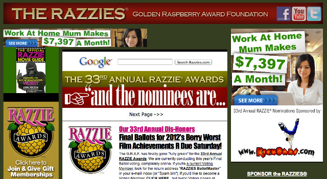 Screen shot from www.razzies.com