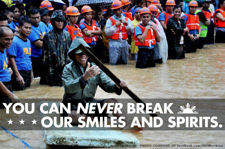 """You can never break our smiles."" Photo from Baha Ka Lang, Pilipino Ako Facebook page"