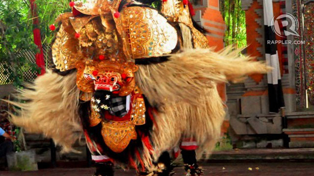 The Barong in Bali's Barong dance. The Barong is a mythical lion-like creature said to be the king of spirits.