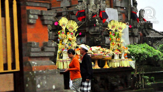 Elaborate temple offerings made mostly from coconut leaves