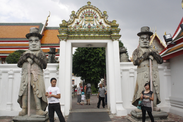 WELL-GUARDED. Dozens of these statues 'guard' the temple compound