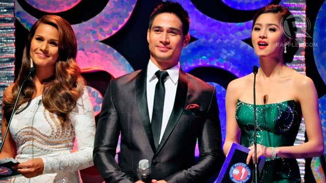 Program hosts Iza Calzado, Piolo Pascual, and Kim Chiu