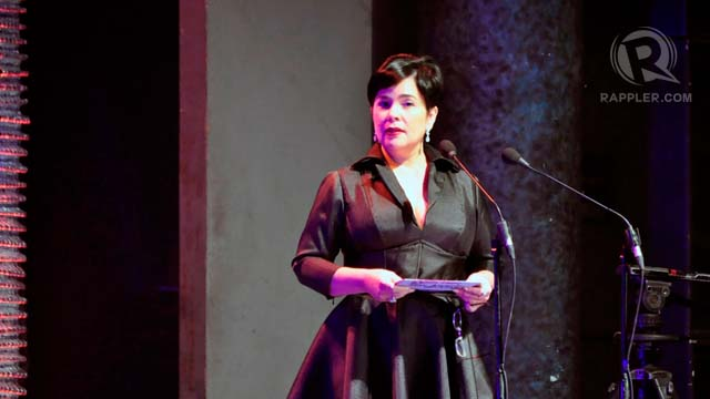 Jaclyn Jose looked classic in a black ladylike frock and red lips