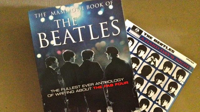 Some of Basti's Beatles stuff. Not in the photo is a Newsweek magazine on the Fab Four.