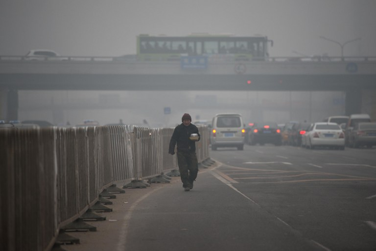 SHROUDED IN SMOG. A man carries food as he walks between traffic during heavily polluted weather in Beijing on January 29, 2013. AFP PHOTO / Ed Jones