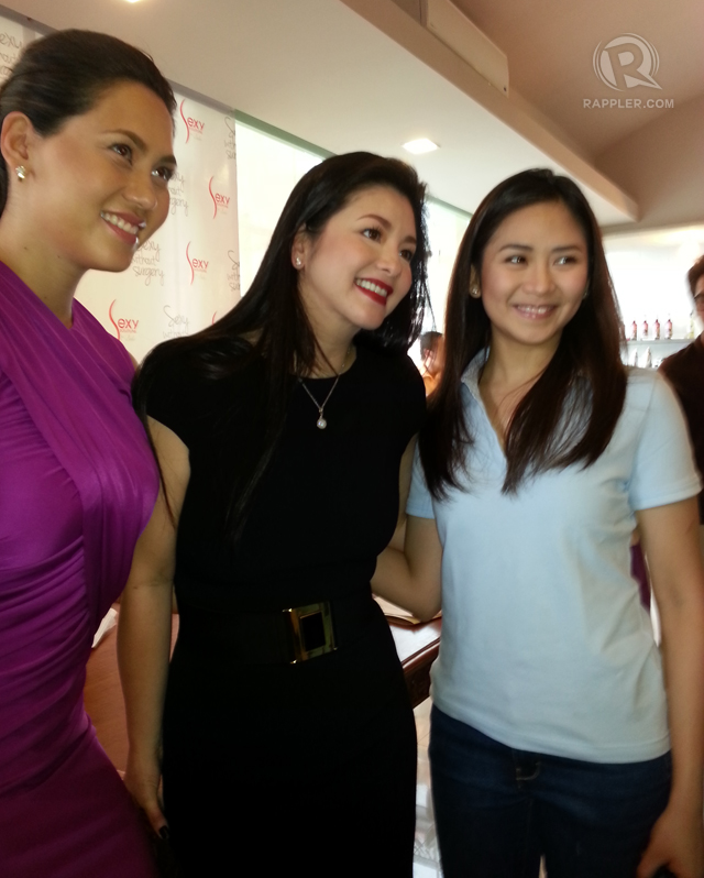 SUPPORT FOR REGINE. Sarah Geronimo (right) with Cristalle Belo Henares and Regine Velasquez at the Sexy Solutions event on November 20. Photo by Rappler