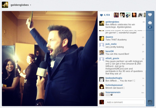 Instagram pic posted by goldenglobes shows Affleck celebrating his win with glee backstage