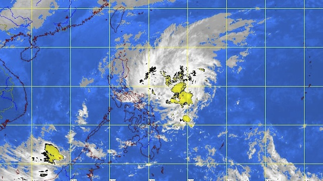 MOVING AWAY. Satellite picture of 'Bising' as of 4:32 pm. Image from PAGASA