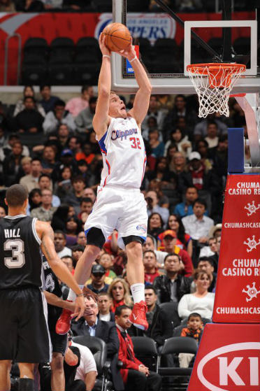Blake Griffin #32 of the Los Angeles Clippers rises for a dunk against the San Antonio Spurs at Staples Center. Photo from Blake Griffin's official Facebook page.